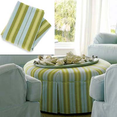 striped cotton slipcover fabric on ottoman