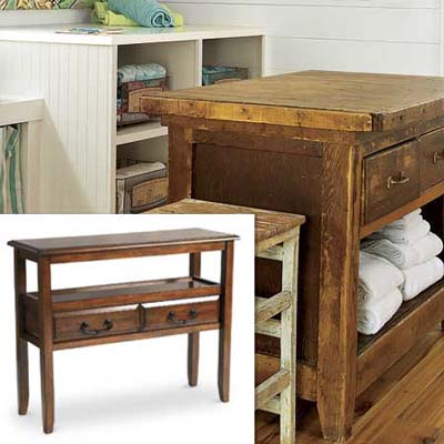 console table adds storage and workspace in a tight spot