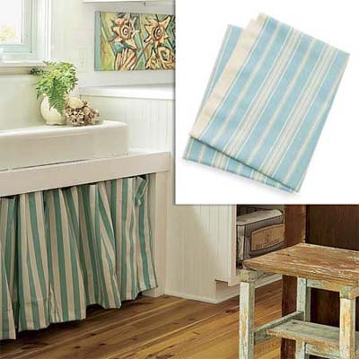 aqua striped fabric