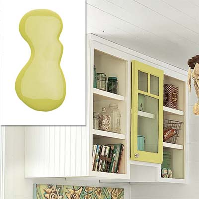 pear green paint framing a cabinet door
