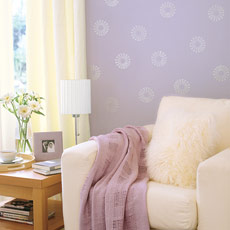 living room with lavender walls and silver stamp design