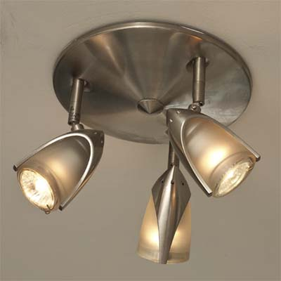budget priced multiple lamp spotlight ceiling fixture added during this kitchen remodel
