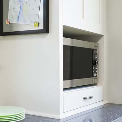 microwave cubby and magnetic message board