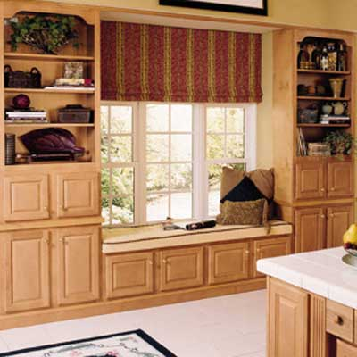 window seat made of stock cabinetry