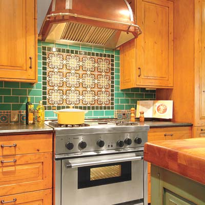 oven range with colorful tile backsplash