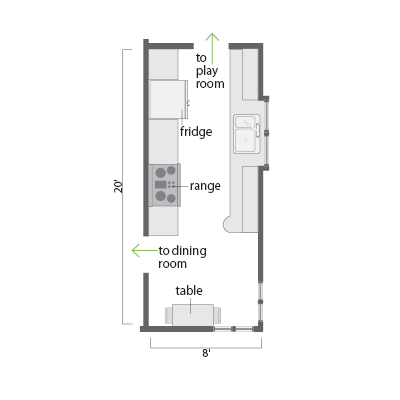 small unfinished galley kitchen floor plan