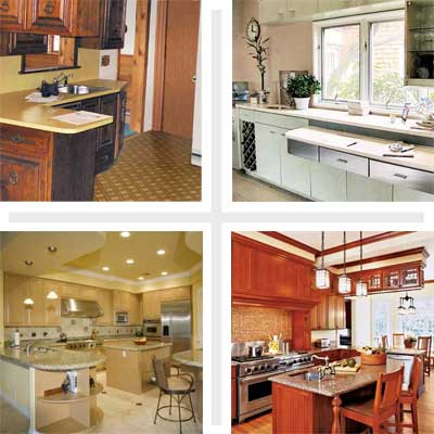 composite of four kitchens from different decades
