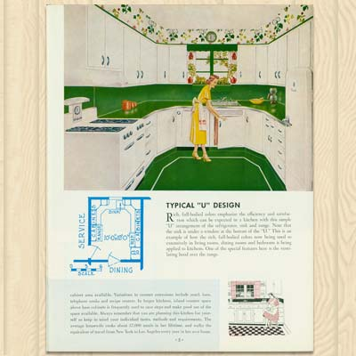page from a post war vintage magazine showing the u design for a kitchen