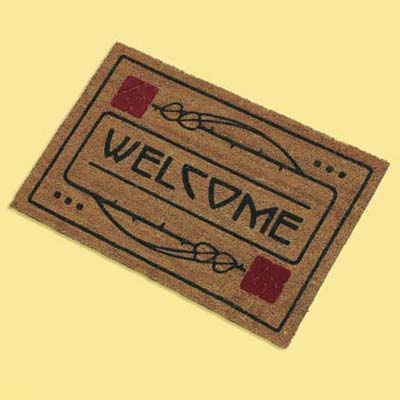 craftsman style natural fiber doormat; welcome mat