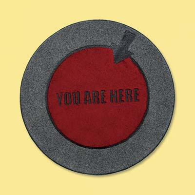 recycled rubber and nylon you are here doormat; welcome mat
