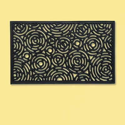 rubber rectangular doormat with circle pattern design; welcome mat