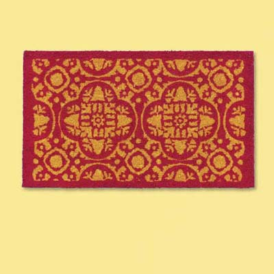 natural fiber doormat with the look of a small oriental rug; welcome mat