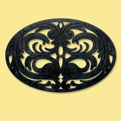 rubber doormat with dramatic gothic pattern; welcome mat