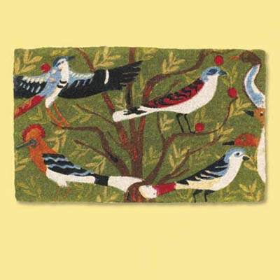 colorful natural fiber doormat with bird and tree pattern; welcome mat