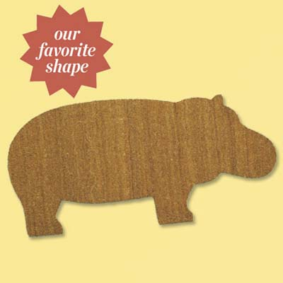 colorful natural fiber and vinyl doormat shaped like a hippo; welcome mat