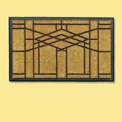 natural fiber and rubber doormat with a stark frank lloyd wright inspired design; welcome mat