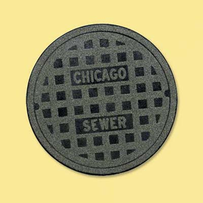 recycled rubber and nylon doormat in the shape of a manhole cover