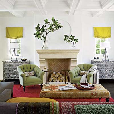 living room decorated in bright colors and a mix of design from many different cultures