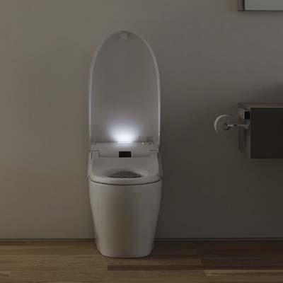 high-tech toilet with built in night light and air freshener