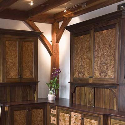custom rosewood burl cabinetry