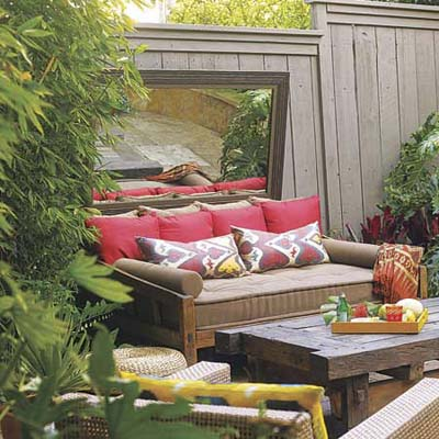 outside patio furniture with wall mirror