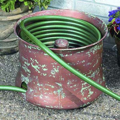 copper garden hose holder