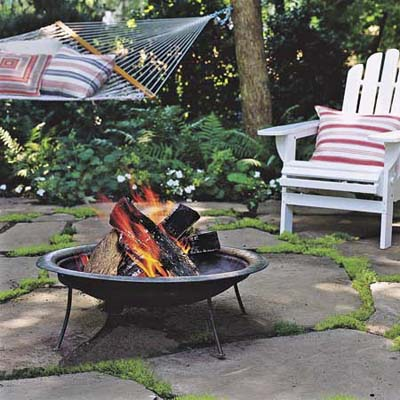 outdoor fire pit on patio