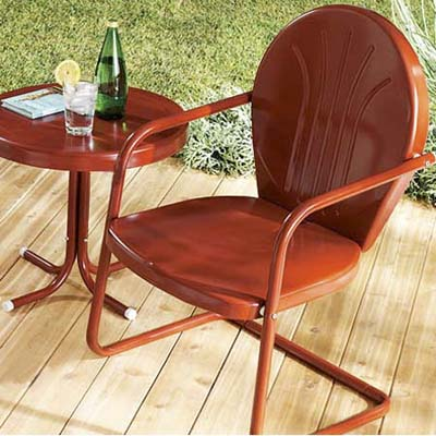 metal patio chair and table painted red