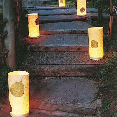 tap lights wrapped in decorative paper light outdoor steps