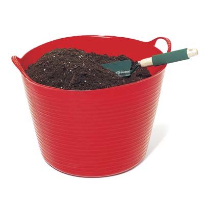 Potting soil in red pail