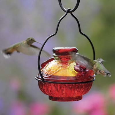 two hummingbirds at a hand-crafted glass feeder