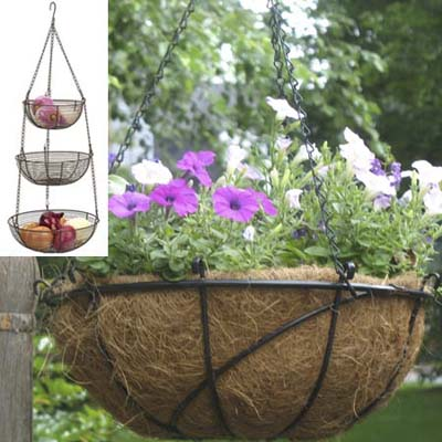 flowers planted in hanging metal wire baskets using coco fiber mats
