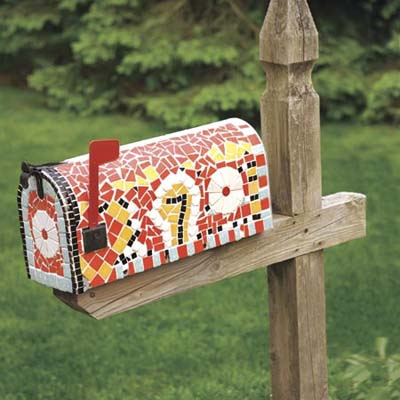 mailbox with tile mosaic design