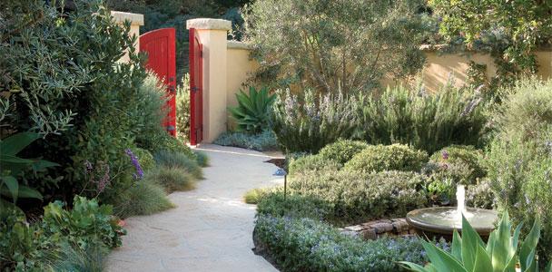 Red garden gate