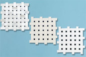 three examples of black-and-white basketweave tile