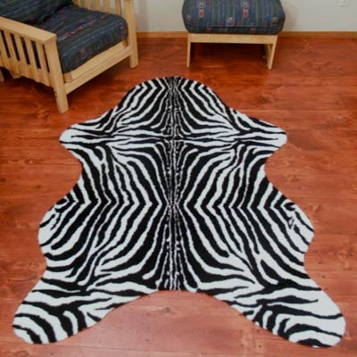 faux zebra area rug