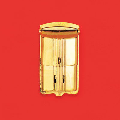 a lacquered polished brass wall-mount mailbox with an Art Deco look