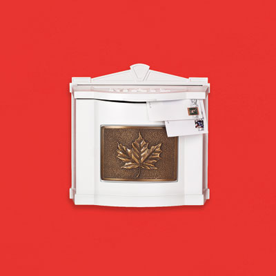 an oversized aluminum wall-mount mailbox with a brass leaf plaque and locking insert