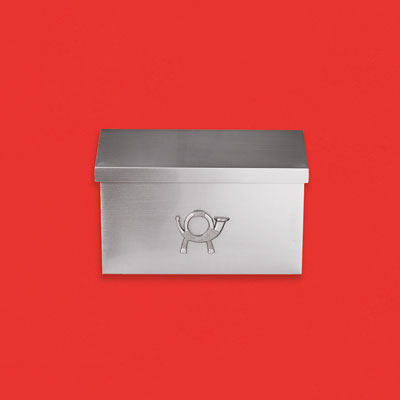 a simply designed silver aluminum wall-mount mailbox with a satin-nickel finish