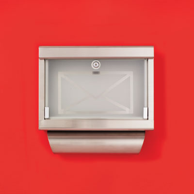 a stainless steel wall-mount mailbox with a frosted glass front decorated with an envelope icon