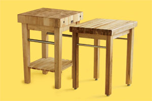 two examples of butcher-block worktables