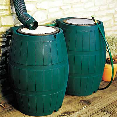 rainwater collection system with plastic rain barrels