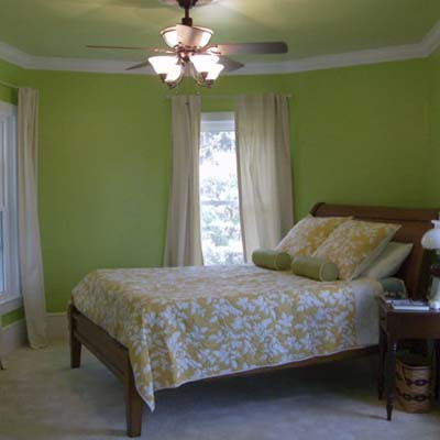 bedroom with green walls and ceiling fan