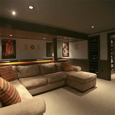 finished basement with movie theater