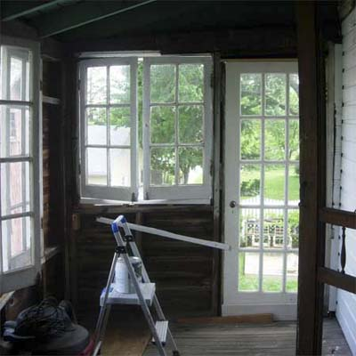 unfinished enclosed porch