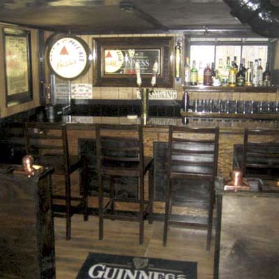 basement with pub decor