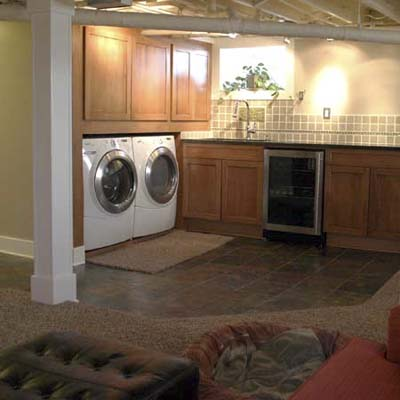 finished basement with laundry area