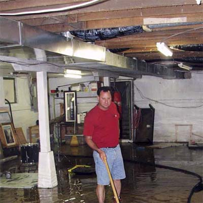 man in unfinished basement