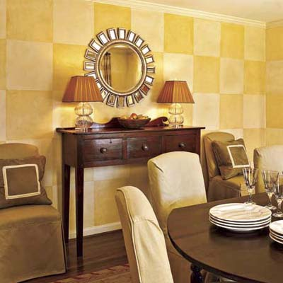dining room with subtle painted checkerboard walls