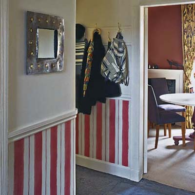entryway with striped wainscoting